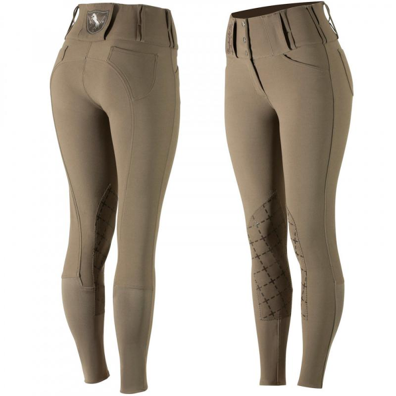 Horze Desiree Women's Leather Knee Patch Breeches with Silicone - Imagen 1