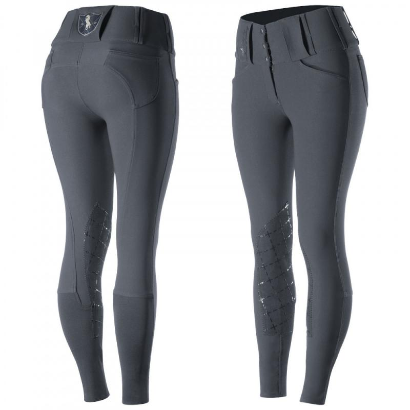 Horze Desiree Women's Leather Knee Patch Breeches with Silicone - Imagen 3